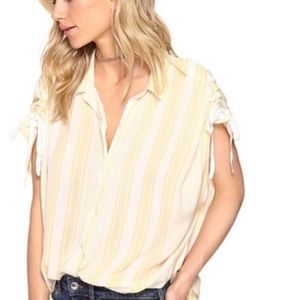 Free People Yellow and White Button Down Top